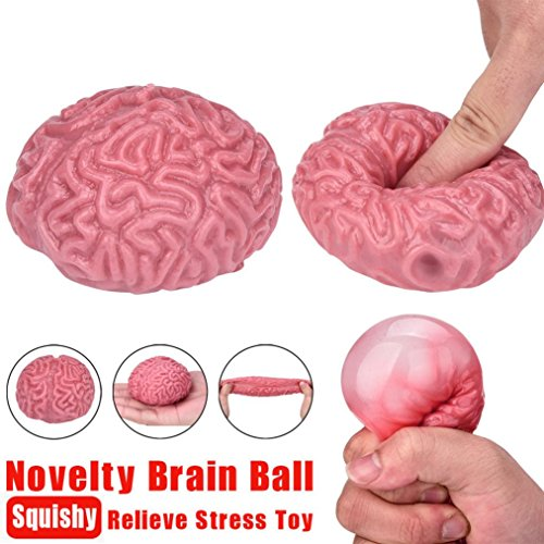 Makaor Creative Novelty Squishy Brain Toy Squeezable Fun Toys Relieve Stress Ball Cure Toy For Adult & Children (Pink, Dimension: about 7cmx5cmx 4cm)