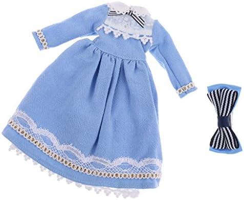 全2カラー ファッション 人形ドレス 1/6スケールブライスアゾンリッカドールのため スカート ワンピース - ライトブルー