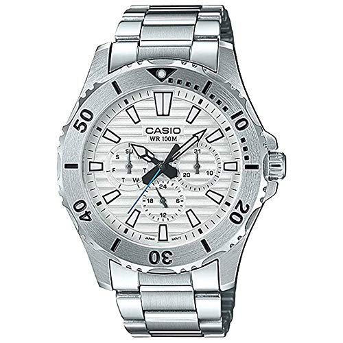 Casio MTD1086D-7AV Men's Stainless Steel Multifunction White Dial 100M Sports Dive - 100m Dive Watch