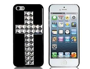 Transversal en forma de caja de plástico de la decoración del remache para el iPhone 5 (Negro)