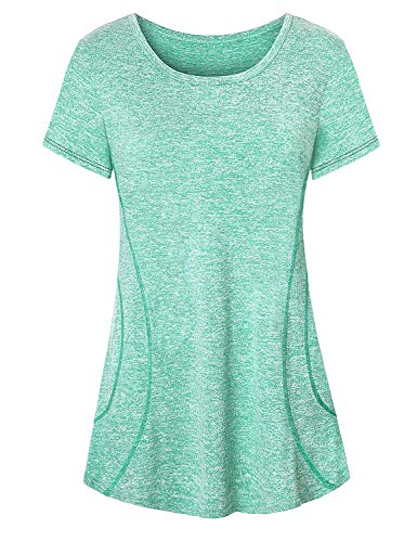 (Luranee Womens Running Shirts, Ladies Performance Tops Short Sleeve Trainning Shirts Relaxed Fit Workout Outfit Breathable Stretchable Flowy Modesty Althetic Exercises Apparels Light Green XL)
