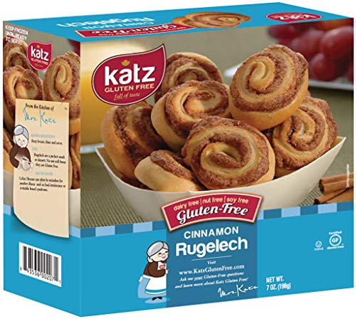 Katz Gluten Free Cinnamon Rugelach | Dairy, Nut, Soy and Gluten Free | Kosher (7 Ounce, 1 Pack of 8 Rugelach)