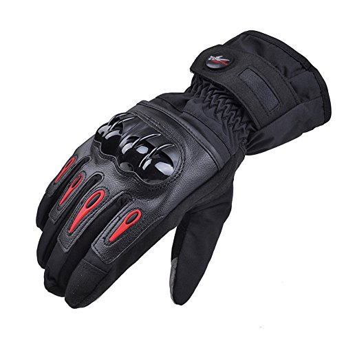 Waterproof Full Finger gloves Pro-biker Moto Motorcycle Gloves Windproof Motorbike Glove Luvas Cycling Racing Sport Guantes de la motocicleta (M, BLACK)