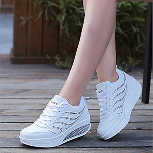 Otoño Negro Dedo TTSHOES 5 5 White Confort Zapatillas CN40 US8 Deporte Blanco Plano PU De EU39 Zapatos Mujer Primavera Redondo Gris UK6 Tacón qAqfI