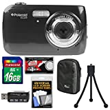 Polaroid iS126 16.1MP Digital Camera (Black) with 16GB Card + Case + Flex Tripod + Kit