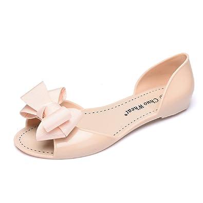 772d14b7c Novel Harp Women Summer Bowtie Peep Toe Jelly Sandal Flat Shoes