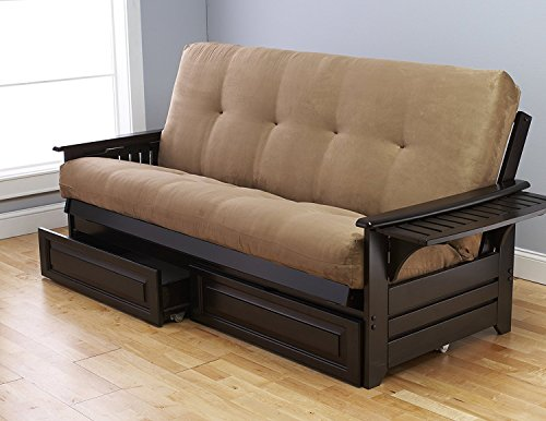 Queen Size Phoenix Espresso Frame w/7 Inch Mattress Microfiber Suede Futon Set Wood Sofa Bed (Peat Mattress, Frame w/Drawers (Queen Size))