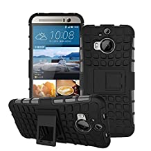 HTC One M9 Plus Case,COOLKE Heavy Duty Double Rugged Protection Hybrid Shockproof Cover Case with Built-in Kickstand For HTC One M9+ - Black