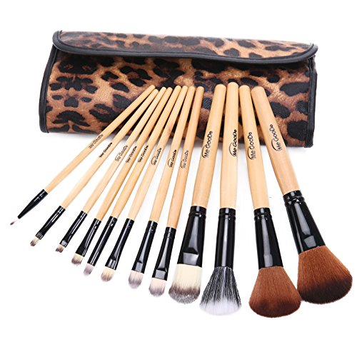 MeGooDo Professional manche en bois naturel Maquillage Brush Set Pinceau Poudre + Case (12 Pcs)