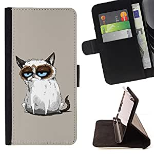 Funny Mad Angry Cat Painting - Painting Art Smile Face Style Design PU Leather Flip Stand Case Cover FOR Samsung ALPHA G850 @ The Smurfs