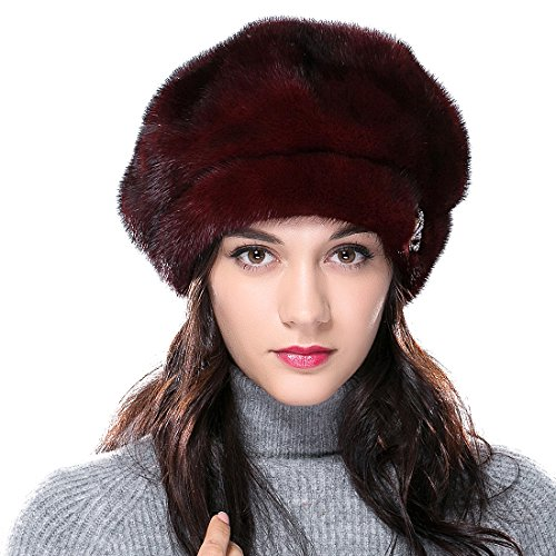 URSFUR Mink Fur Women's Beret Fur Hat Shinning Brim Burgundy