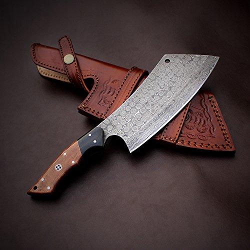 Micarta Leather Sheath (Handmade Damascus Steel Kitchen Chef Cleaver Chopper Knife Micarta Handle 11 Inches JNR1031)