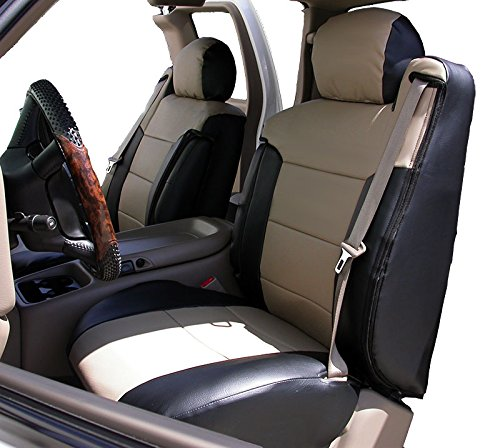 2003-2006 CHEVY SILVERADO BLACK/BEIGE Artificial leather Custom Made Original fit FRONT Seat covers & 2 Armrest covers
