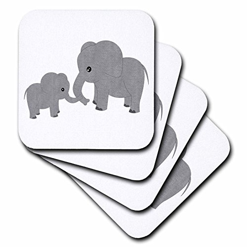 3dRose CST_195248_3 Mom and Baby Elephant Ceramic Tile Coasters (Set of - Coaster Baby Tile