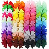 Hair Bows, Coxeer 40Pack Hair Bows for Baby Girl Alligator Clips Grosgrain Ribbon Boutique Hair Accessories for Baby Girls Kids Teens Toddlers Children Newborn
