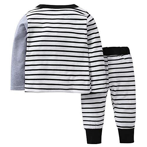6d0c7ef26 Infant Toddler Kids Baby Boys Girls Pajamas Outfits Set Cartoon Elephant  Striped T-Shirt 2Pcs