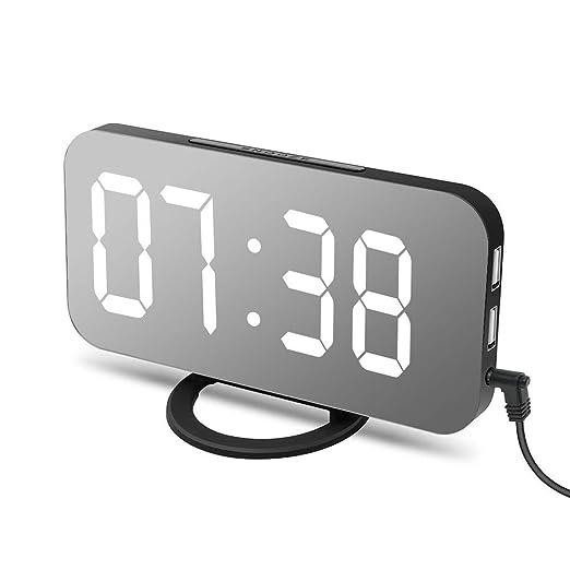 Reloj Despertador Premium Reloj Led Grande con Doble Puerto Usb Reloj Espejo Delgado para la Sala