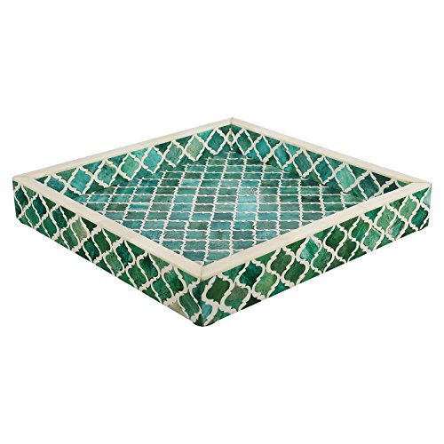 - Handicrafts Home Decorative Tray Inspired by Vintage Moorish Damask Moroccan Art Handmade Naturals Bone Inlay Quatrefoil Designer All Purpose Serving Tray from (Green & White)