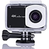 4K Action Camera AEYO 16MP Sport Action Camera with Waterproof Case (98ft) 2.45in Lcd Touch Screen Wireless 170° Wide Angle lens 2Battery and Accessories