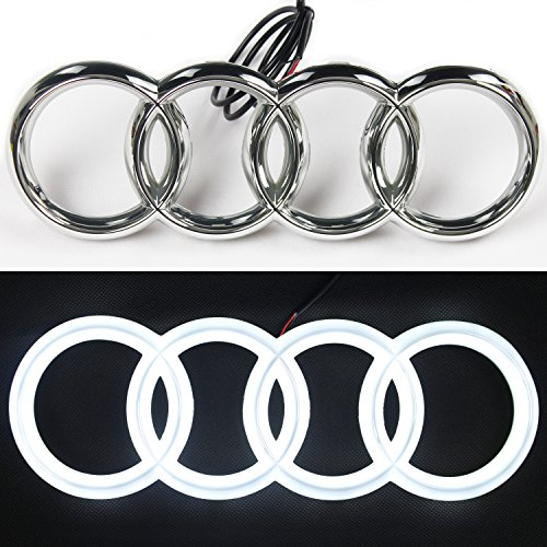JetStyle [2018 Upgraded] LED Emblem, Compatible with Audi, Front Car Grill Badge, Auto Illuminated Logo, Glowing Rings, Lights DRL Daytime Running Lights White - Drive Brighter ... (273 mm)