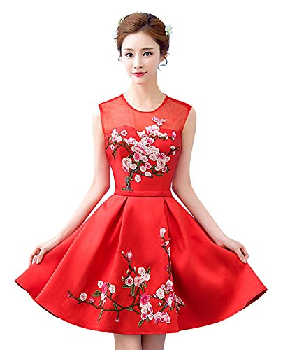Para Trapecio Drasawee Mujer Rosso Vestido YFxqfwP