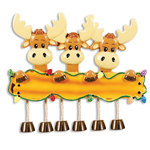 Personalized Moose Family of 3 Christmas Tree Ornament 2019 - Parent Friend Deer Elks Hold Wood Sign Glitter Light Dangle Feet Tradition Kid Grand-Children Year - Free Customization