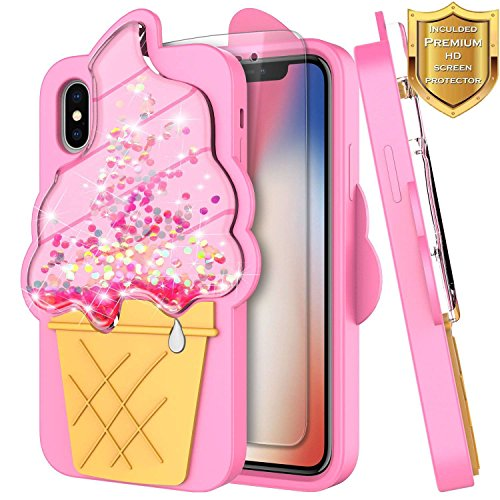 iPhone Xs Case, iPhone X/iPhone 10 Case w/[Screen Protector HD Clear], NageBee Glitter Liquid Waterfall Floating Flowing Shiny Sparkle Bling 3D Soft Flexible Funny Girls Cute Case -Ice Cream