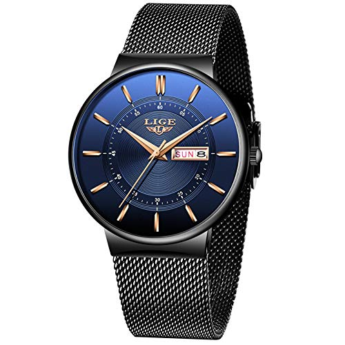 LIGE Men's Watches Waterproof Men's Watch Fashion Elegant Shop All Blue Analogue Quartz Men's Watch for Men with…