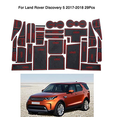 qotone 29pcs/Set Car Door Slots Pad Gate Armrest Storage Grooves Mat Replacement for Land Rover Discovery 5
