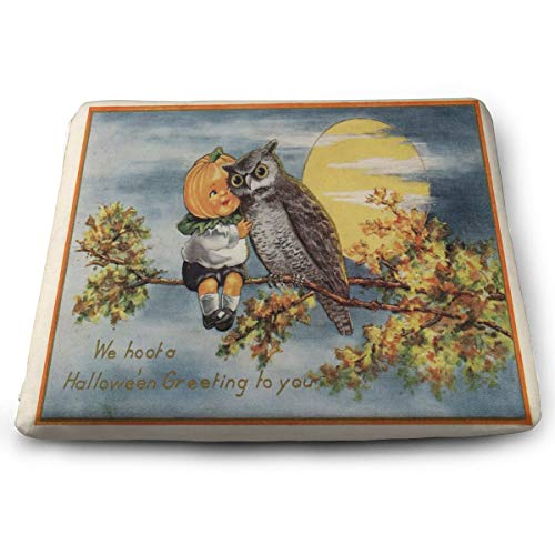 Square Seat Cushions Vintage Halloween Image Premium Comfort Memory Foam Kitchen Chairs Pad for Office
