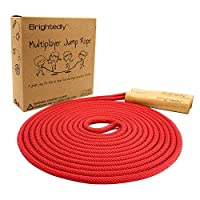 Brightedly 16ft Long Jump Rope Kids - Red - Classic Look Wooden Handle - Durable Kids Jumping Rope - Skipping Rope - Outdoor Fun Activity, Great as a Gift or Party Favor