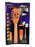 KINREX Pumpkin Carving Tools - Pumpkin Carving Kit - 4 Carving Tools - 8 Halloween Stencils - Easily Carve Sculpt Halloween Jack-O-Lanterns