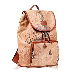 Vintage PU Leather World Map Pattern Shoulders Bag Casual Backpack Girls Daypack from Coofit
