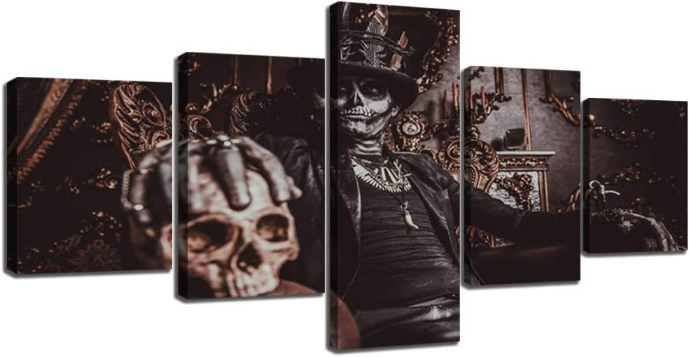 Day of The Dead Sugar Skull Makeup Baron in The Old Castle Canvas Painting HD Printed Pictures Wall Art for Living Room Modern Home Decor Gallery-wrapped 5 Panel Framed