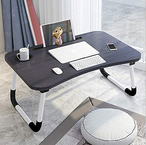RYLAN Multi-Purpose Laptop Desk for Study and Reading with Foldable Non-Slip Legs Reading Table Tray, Laptop Table, Laptop Stands, Laptop Desk, Foldable Study Laptop Table, Study Table (Black)