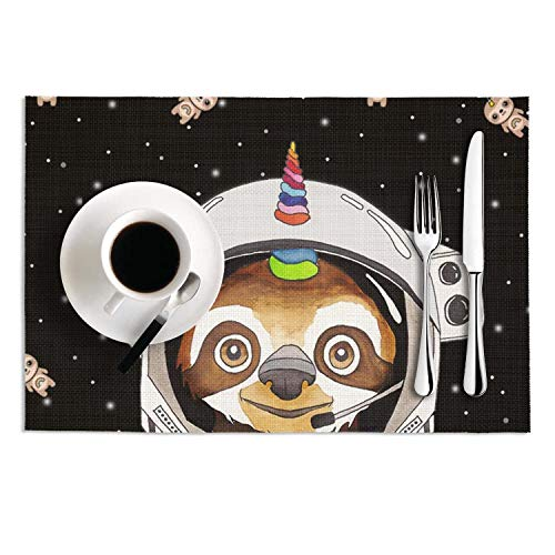 Octayi Placemats Set of 2 Heat Insulation Stain Resistant Placemat for Dining Table Black Cool Astronaut Sloth Crossweave Woven Vinyl Washable Table Mats