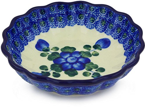 Polish Pottery Scalloped Fluted Bowl 5-inch Blue Poppies