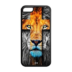 5C Phone Cases, Lion Cross Hard Cover Case for iPhone 5C Designed by HnW Accessories