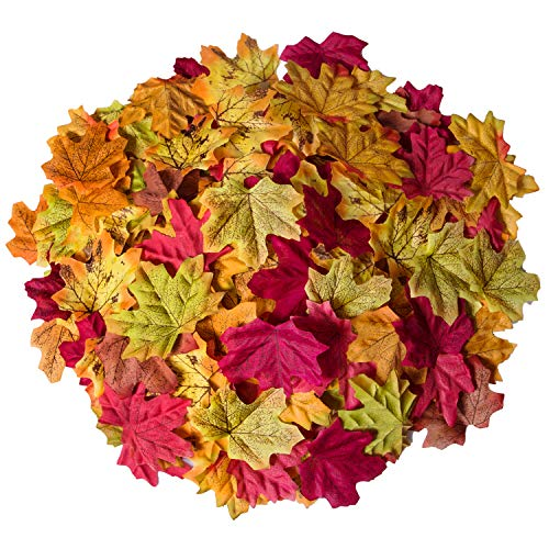 Autumn Leaf Decorations (Bassion 1000 Pcs Assorted Mixed Fall Colored Artificial Maple Leaves for Weddings, Events and)