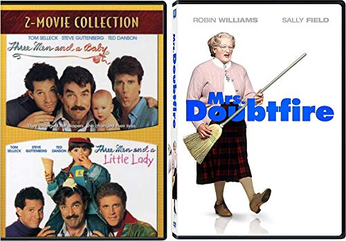 Men & Diapers Comedy Mrs. Doubtfire & Three Men & A Baby + Little Lady 3-Movie Collection DVD Robin Williams & Ted Danson Bundle Feature Family Set