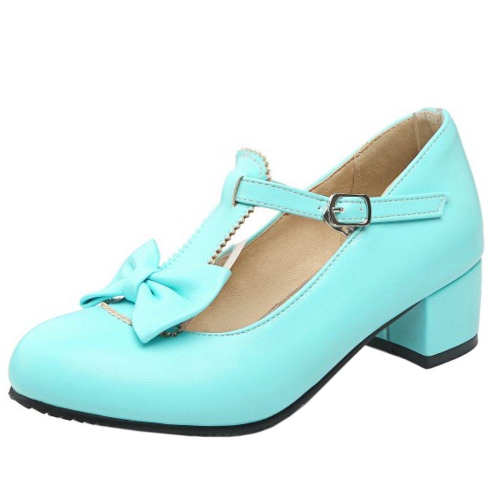 Zanpa Girls Cute Fiocco Sweet Scarpe col Tacco Tacco Basso Blue