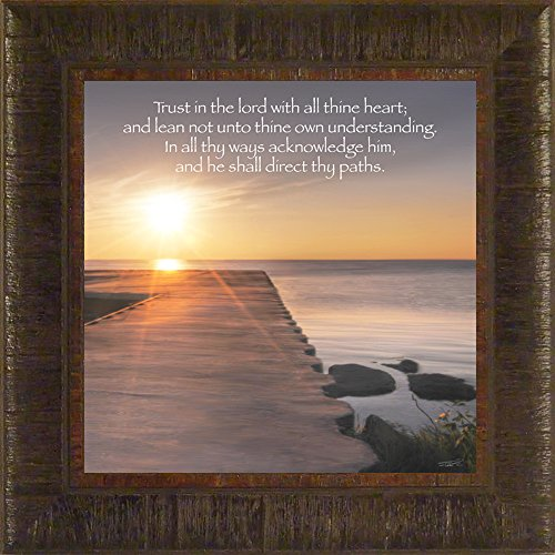 Trust in the Lord By Todd Thunstedt 17.5x17.5 Sunset Pier Religious Bible Verse Quote Saying Jesus Matthew Mark Luke John Testament Old New Psalm Church Service Christian Baptist Mormon Evangelical Billy Graham Franklin Samaritans Purse Framed Art Print Wall Décor Picture