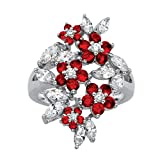 Palm Beach Jewelry Silver Tone Round and Marquise Cut Floral Cluster Ring, Red Glass and White Cubic Zirconia Size 7