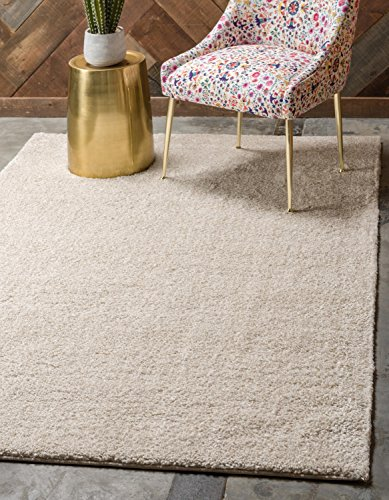 Unique Loom Solo Collection Plush Casual Ivory Area Rug (5' x 8')