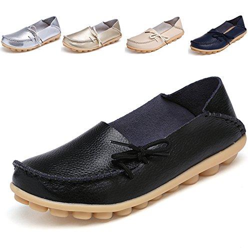 Loafers Schuhe für Frauen Leder - Handwerk 2018 New Exclusive Series Weihnachtsgeschenk ALL17002 Damen Schuhe Sale Slip On Loafers Damen Penny Comfort Walking Flache Schuhe zum Verkauf Schwarz