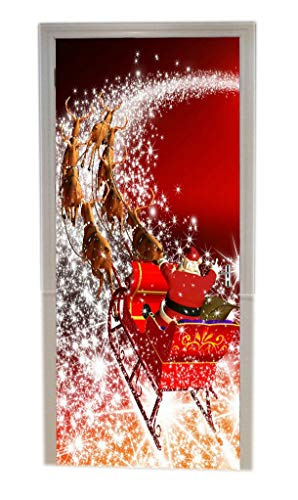 (A.Monamour Christmas Holiday Santa Clauds Riding The Sleigh Reindeer Pulling The Sleigh 3D Print Eco-Friendly Vinyl Room Door Decals Wallpaper Wall Murals Removable Stickers Posters DIY Art Decors)