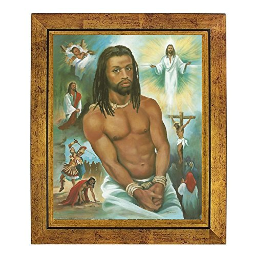 His Voyage: The Life of Black Jesus by Vincent Barzoni (10x8 inches - Framed Art Print - Gold Frame) (Print Barzoni)