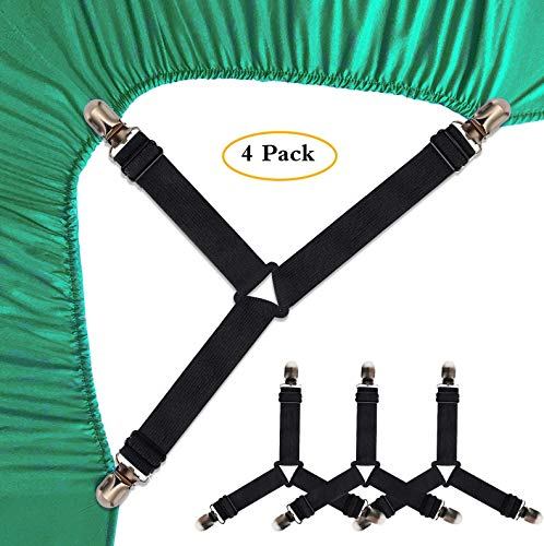 SEEOOR Bed Sheet Holder Straps, Triangle Elastic Mattress Corner Clips, 3 Way Fitted Bed Sheet Fastener Suspenders Grippers Heavy Duty for Bedding Sheets, Mattress Covers, Sofa Cushion (4 - Strap Stay