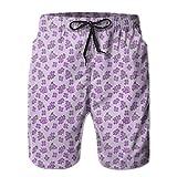 NTK0SKAI Mens Kitsch Botany Flower Field Patter With Perennial Florets Swimming Shorts Beautiful Beach Pants XX-Large