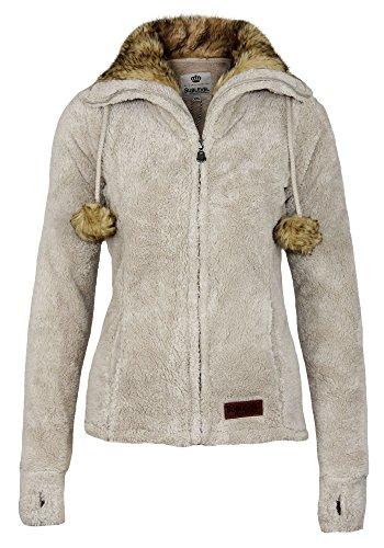 Pull et fourrure avec Sublevel pompons montant femme fausse pour polaire col veste chaud xxUw8qP6f